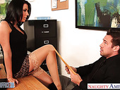 Slutty accountant Rachel Starr seduces young and handsome boss Johnny Castle