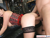 Billy Glide bangs super sexy milf in stockings and corset Jayden Jaymes