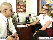 Dude fucks naughty babe in stockings and short skirt Kennedy Leigh in the office