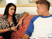 Timid young guy is fucked hard by voluptuous friend's mom Jessica Jaymes