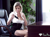 Bossy milf Cory Chase is masturbating pussy and fucking one of her employees