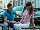 Bare boned Russian girl gives her head and gets fucked on the first time