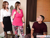 Young man fucks two bodacious cougars Charlee Chase and Sara Jay