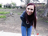 Slutty young chick Aidra Fox gets intimate with one rick guy