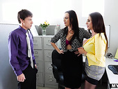 Greenhorn fucks two mature lesbians in the office and they enjoy cum swapping