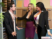 Two mature women fuck young co-worker right on the table