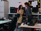 Alluring brunette babe Jane Wilde is fucked hard right on the office table