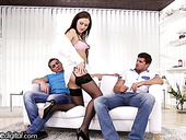 Professional escort girl Tina Kay gets double dipped after blowjob session