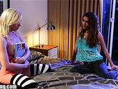 Two voluptuous lesbians Tara Morgan and Rebel Lynn are finger fucking each others twats