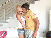 Playful blond teen Carla Cox shows her tits in public and gets laid indoor