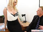 Sex-cretary Victoria Summers gives her head and gets fucked right on the table