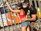 Slutty chick from Barcelona Sasha Jones gets intimate with one brutal guy