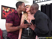 White whore Brooklyn Chase swallows two huge cocks and gets fucked anally