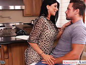 Flirty brunette with big knockers seduces married guy Johnny Castle