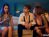 Curly guy bangs sexy babes Karma Rx and Alina Lopez