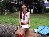 Pretty college chick from Italy Martina Smeraldi gives her head and rides cock in public