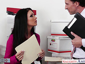 Office slut Jessica Jaymes gives her head and gets fucked right on the table