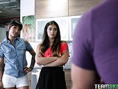 Two lewd babes Kitty Carrera and Sofie Reyez are fucking one guy