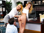 Two babes Aaliyah Love and Sydney Cole fuck one guy in the office