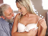 Young beauty is fucked by old man after a sensual blowjob session