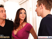 Two young guys fuck super sexy mature woman with fake boobs Ariella Ferrera