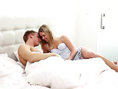 Libidinous girlfriend Violette Pure gives a blowjob before passionate sex in the morning