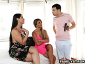 Gold digger mommy Miss Raquel watches how stepson fucks her daughter