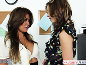 Lesbians Charmane Star and Kiera Winters are making love in the office