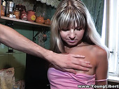 Ordinary Russian blondie Doris swallows big cock and boyfriend fucks her in different poses