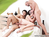 Coed from St.Peterbursg Katty West gets double penetrated and takes cumshots on face