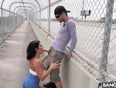 Shameless bitch Adriana Chechik gives her head and gets laid in public place