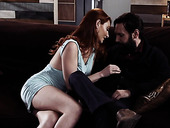 Bearded tattooed guy fucks deep throat and wet pussy of red haired hottie Lacy Lennon