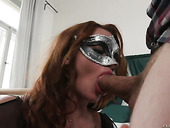 Babe in masquerade mask Daphne Klyde is fucked hard by hot blooded guy