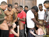 Kiki Daire and her GF are face fucked by crowd of big black jocks