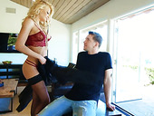 Riley Steele takes cumshots on face after heavy anal pounding
