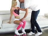 Sexy roller skating girl Alex Grey gets facial after steamy pussy pounding