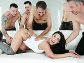 Several men fuck full natural busty milf Angela White and cum on her face