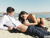 Unforgettable sex on the beach with curvaceous Latina Canela Skin