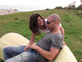 Spanish babe Julia Roca gives her head in public and gets fucked indoor