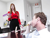 Ginger seductress Lauren Phillips sucks a dick and gets laid in the office