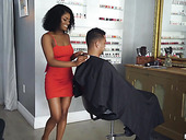 Ebony hairdresser gives a blowjob and rides white cock like a sex-starved bitch