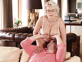Super hot young granny with gigantic tits Angel Wicky fucks young man in the living room