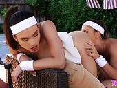 Lesbian tennis girls Liv Wild and Paige Owens are eating each other outdoor