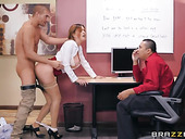 Oversexed milf Krissy Lynn is masturbating in the office before crazy sex with co-worker