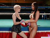 Knocking out orgasm in the ring after passionate sex with lesbian rival