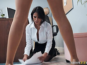 Two busty bisexual babes Darcie Dolce and Autumn Falls fuck each other in the office