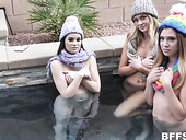 Funny teens Avery Cristy, Jenna Ross and Charlotte Sins are fucked by one guy