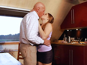Old man has the honor to fuck young beauty Alessandra Jane in pussy and mouth