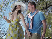 Beautiful milf with captivating cleavage Chanel Preston seduces young man