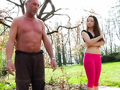 Young chick Alesia gets intimate with one old man in the park